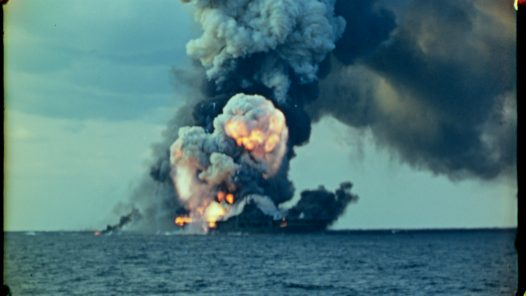 Kamikaze'd Carrier, Photo courtesy by Discovery. Apocalypse '45: The Harrowing Reality of the Pacific War - Factual America Podcast