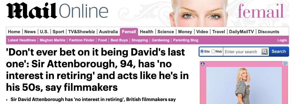 David Attenborough, 94, Has 'No Interest in Retiring' Say Filmmakers